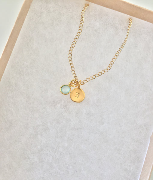 Bridesmaid DYO (Design Your Own) Initial Gemstone Necklace