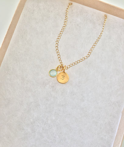 DYO (Design Your Own) Initial Gemstone Necklace