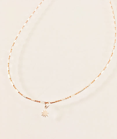 Micro Sterling Silver & Rose Gold Starburst Necklace