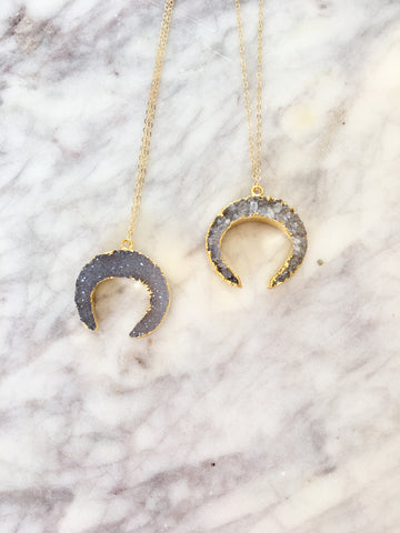 Druzy Crescent Necklace