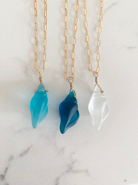 Sea Glass Sea Shell Necklace