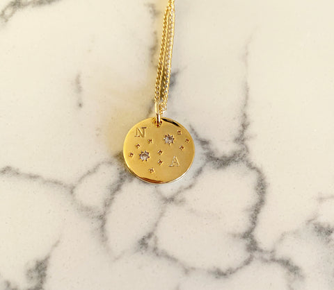 Written in the stars Coin Personalized Necklace