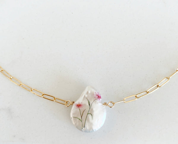 Water Color Printed Pearl Necklace