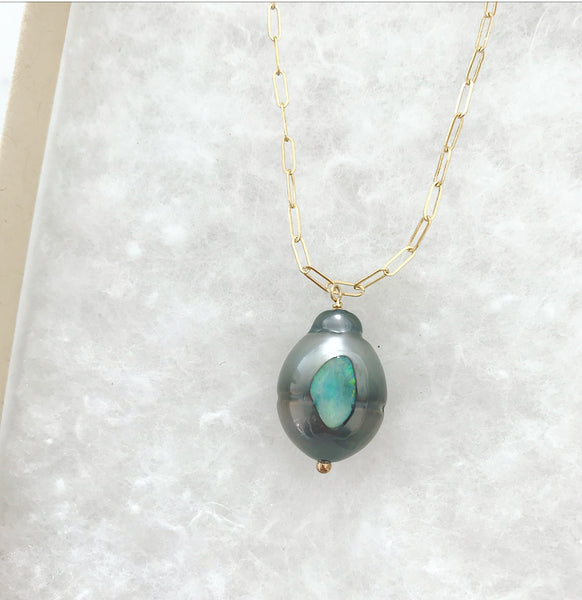 O'Pearl  - Tahitian Pearl and Opal Necklace