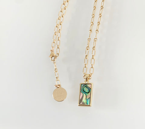 Mini Rectangle Abalone Necklace