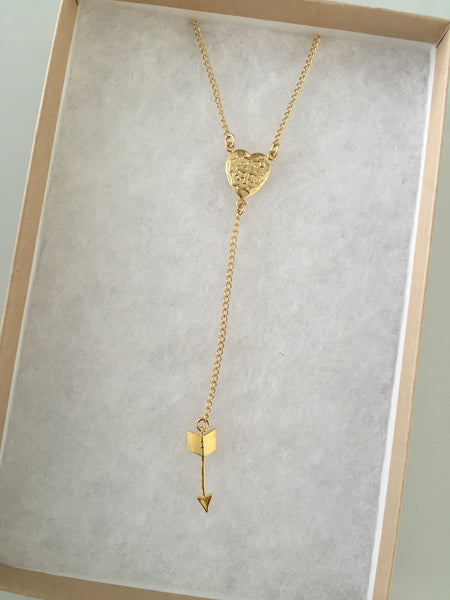 Heart Arrow Lariat Necklace