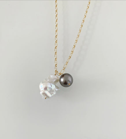 Salt and Pepper - Tahitian and Baroque Pearl Necklace