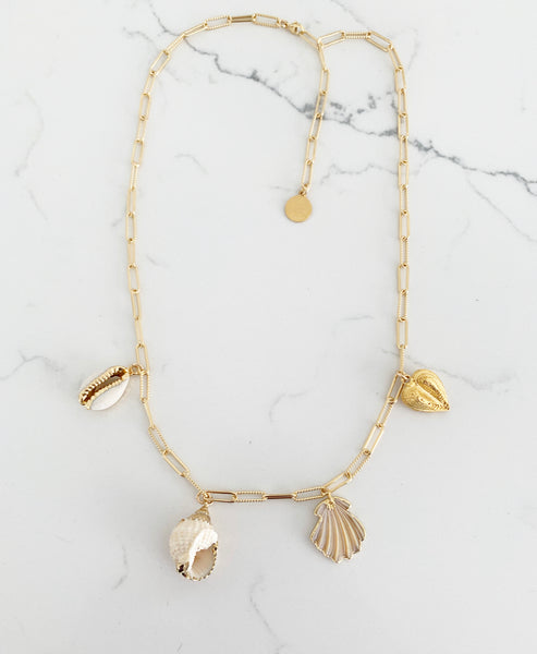 Shell Heart Charm Necklace