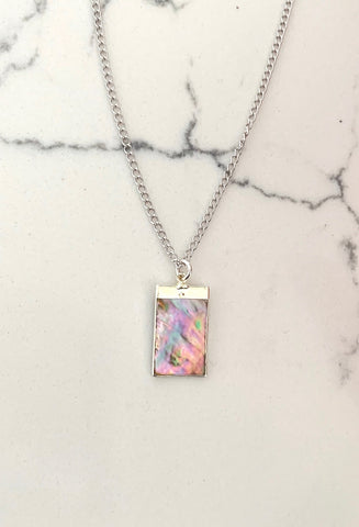 Mirrior Mirror - SILVER Abalone Rectangle Pendant Necklace