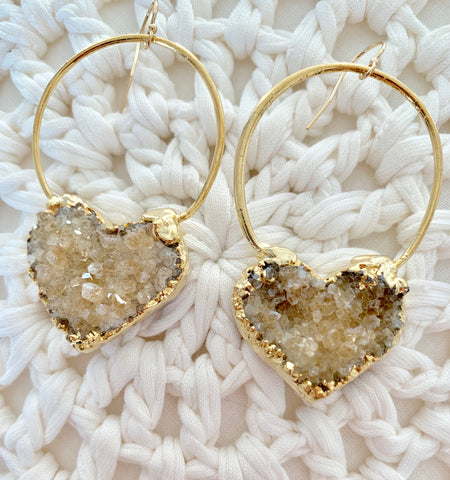 Hearts on Fire - LARGE Druzy Heart Hoop Earrings