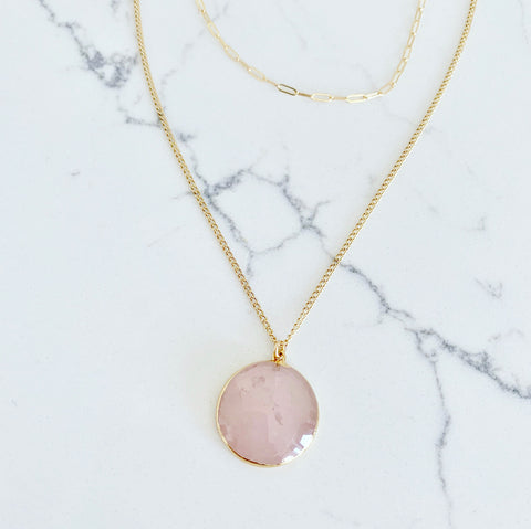 "Rose Quartz ""LOVE"" Layered Necklace"