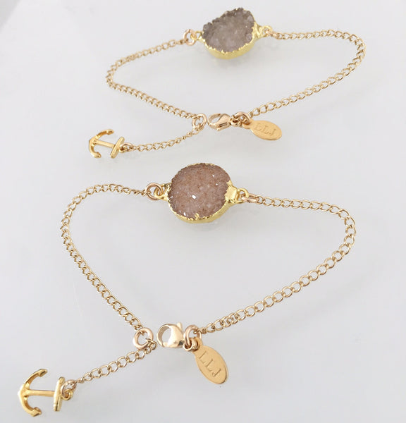 DRUZY Anchored to You Dainty Bracelets -sold in a set
