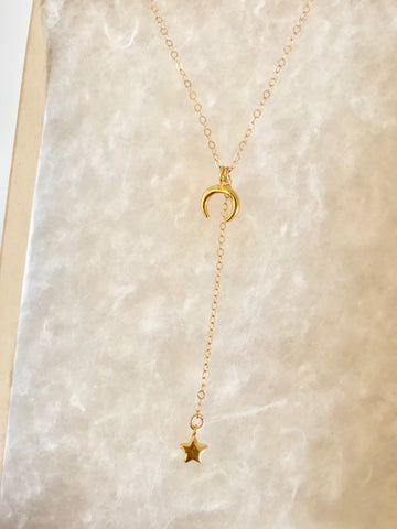 Micro Crescent Moon and Star Lariat