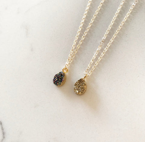 Micro Bioluminescence Druzy & Gold Druzy Necklaces