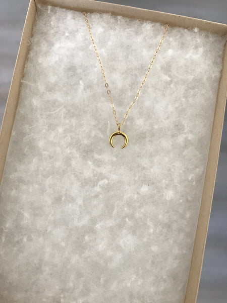 Micro Gold Crescent Necklace