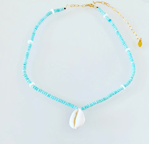 Turquoise Waters Cowrie Shell Necklace