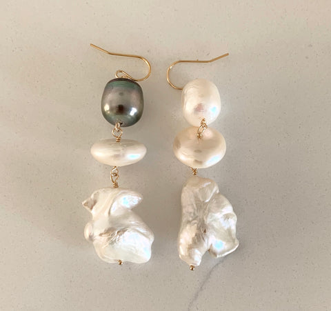 Salt and Pepper Tahitian and Baroque Pearl Earrings