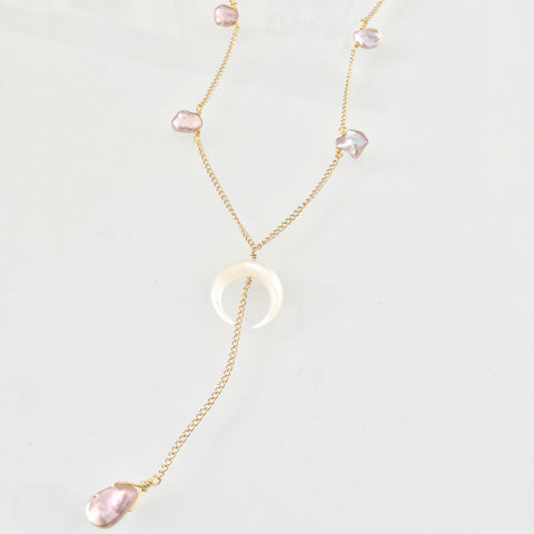 Crescent Moon Dainty Pearl Lariat