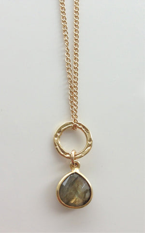 Mini Ring - Labradorite Drop Necklace