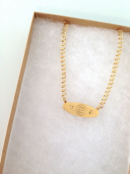 Zodiac & Initial Name Plate Necklace