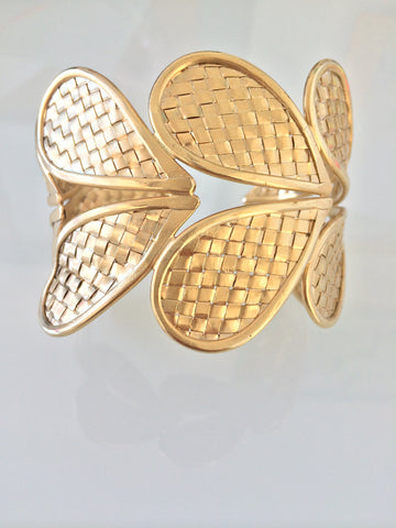 Vintage Woven Leaf Thai Silver Cuff - gold plated
