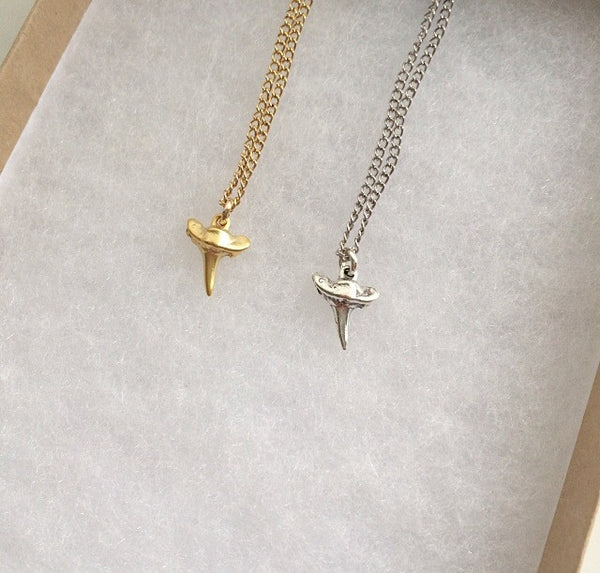 Micro Shark Tooth Necklace (gold or Silver)