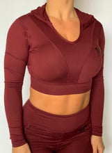 Load image into Gallery viewer, F2F Cropped Hooded Bra (Maroon)