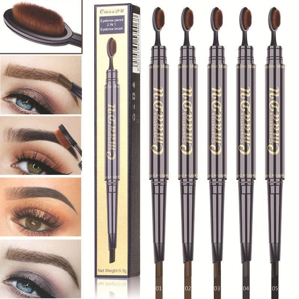 Double Head Toothbrush Shape Eyebrow Pencil