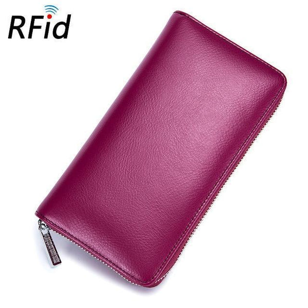 RFID Antimagnetic Genuine Leather 36 Card Slots 6inch wallet