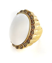 Vintage White Cabochon Cocktail Ring