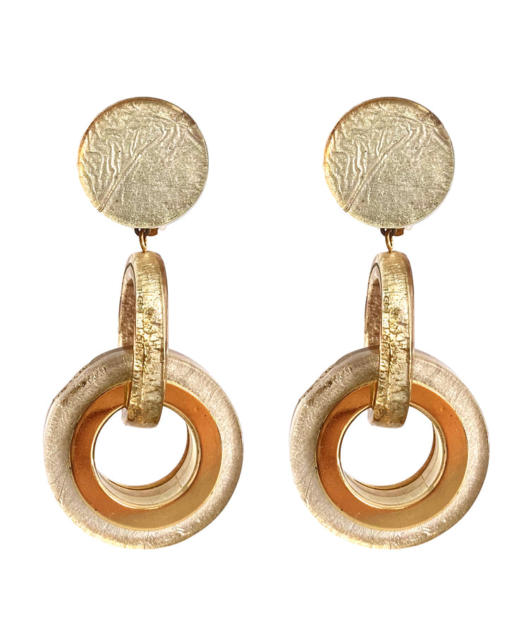 Vintage Gold Lucite Earrings