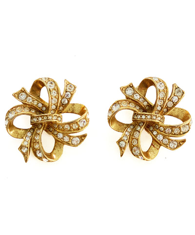 Vintage Rhinestone Bow Earrings
