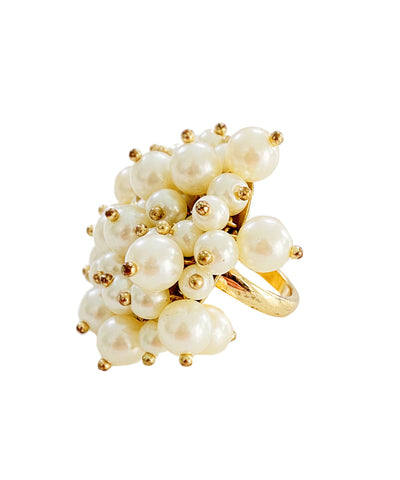 Vintage Pearl Cluster Cocktail Ring