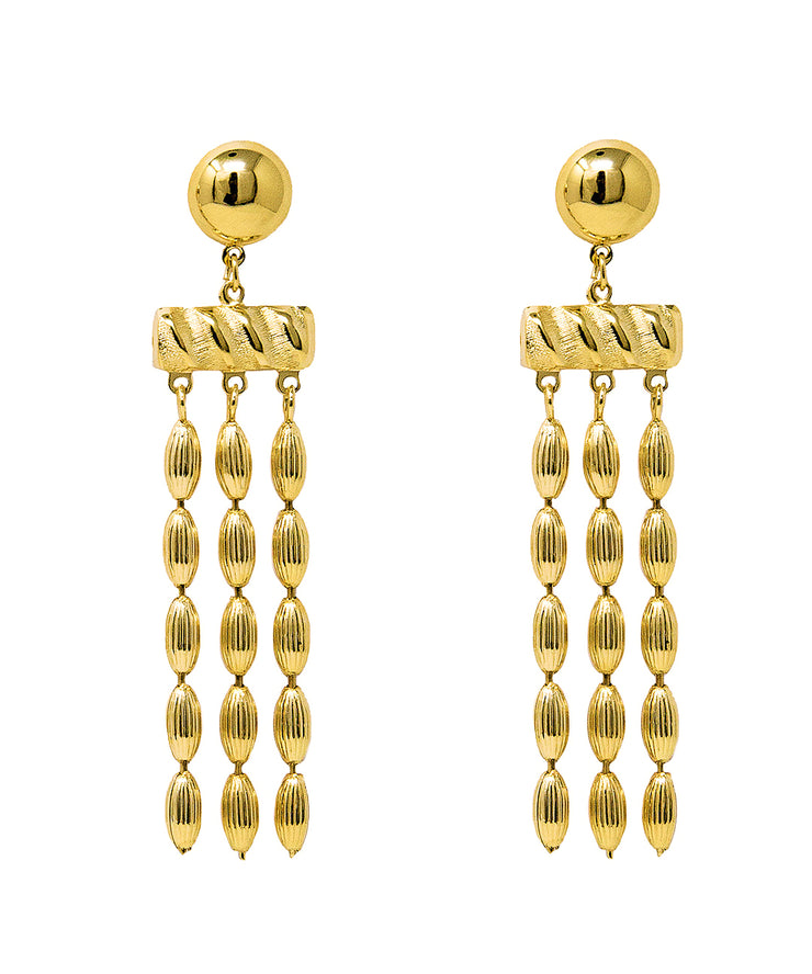 Triple Strand Rice Bead Earrings (Shiny Gold)