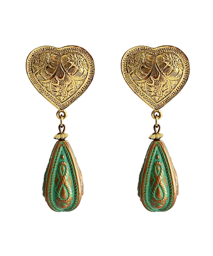 Vintage Vermeil Heart Teardrop Earrings