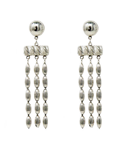 Triple Strand Rice Bead Earrings (Shiny Silver)