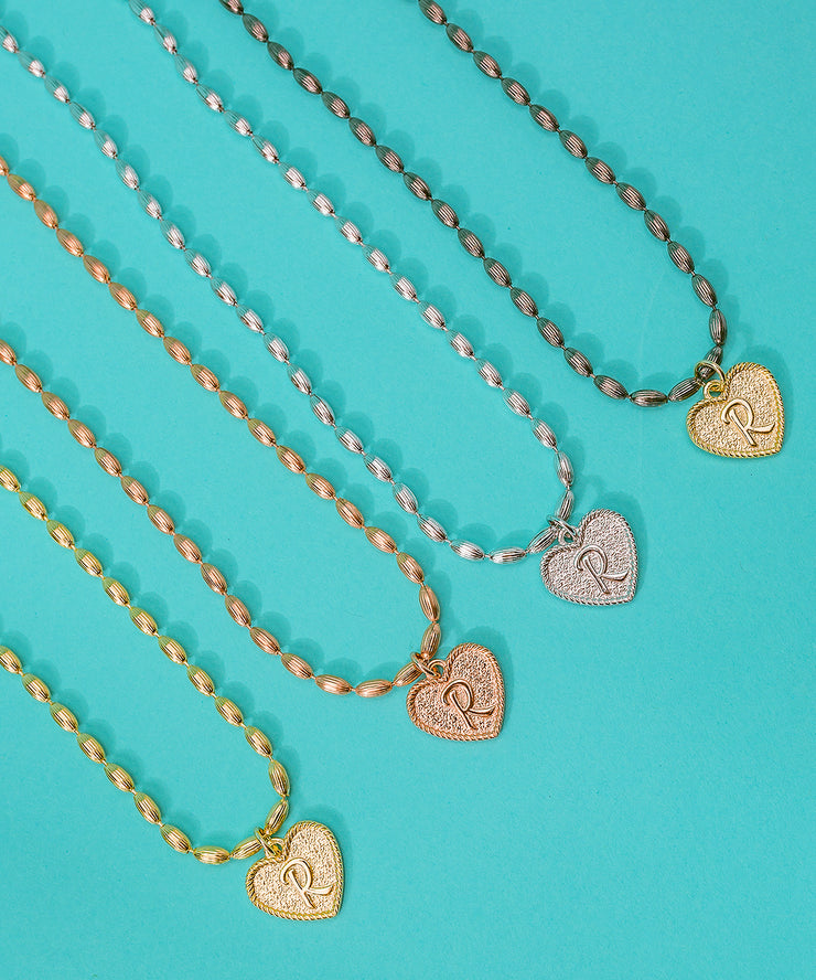 (Z) Heart Initial Charm in Three Finishes