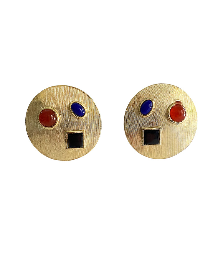 Vintage Modernist Cabochon Earrings