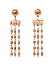Triple Strand Rice Bead Earrings (Rose Gold)