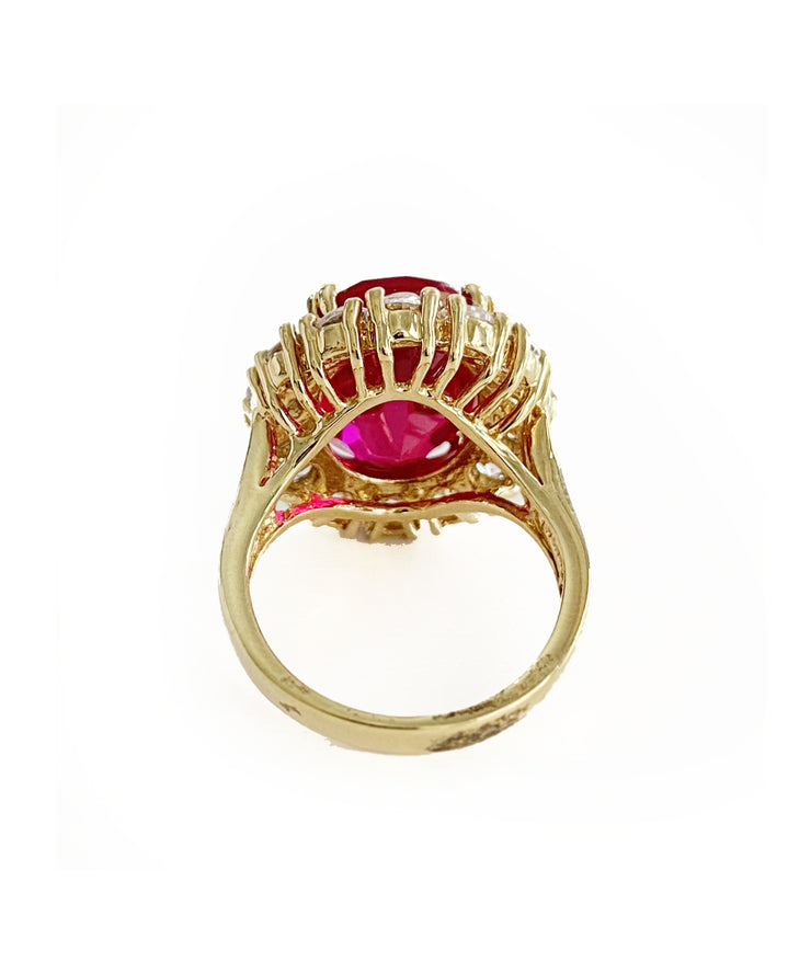 Vintage Ruby Red Cocktail Ring