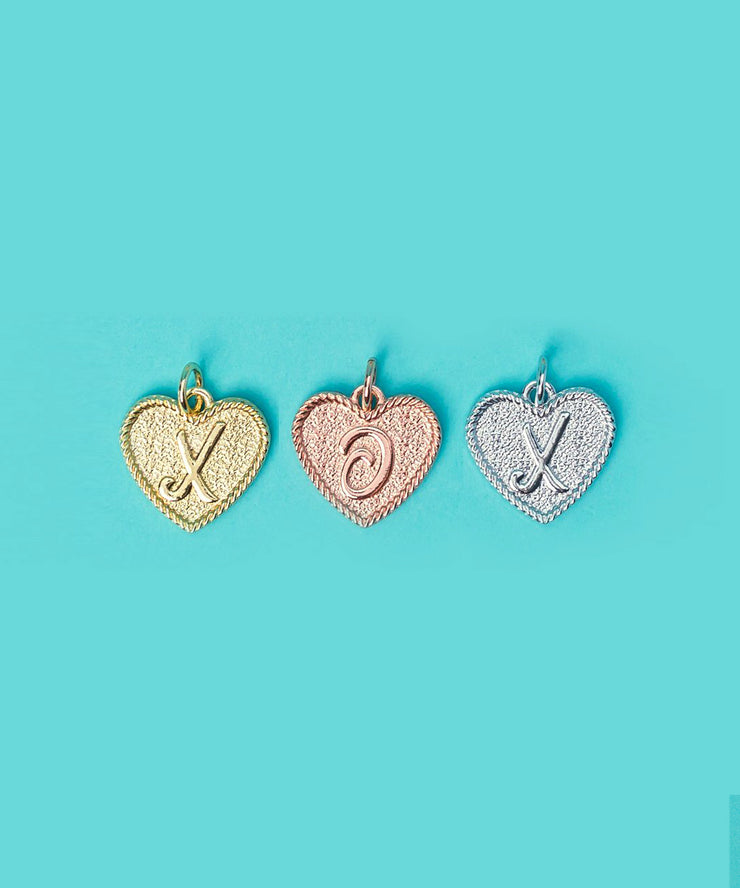 (X) Heart Initial Charm in Three Finishes