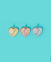 (M) Heart Initial Charm in Three Finishes