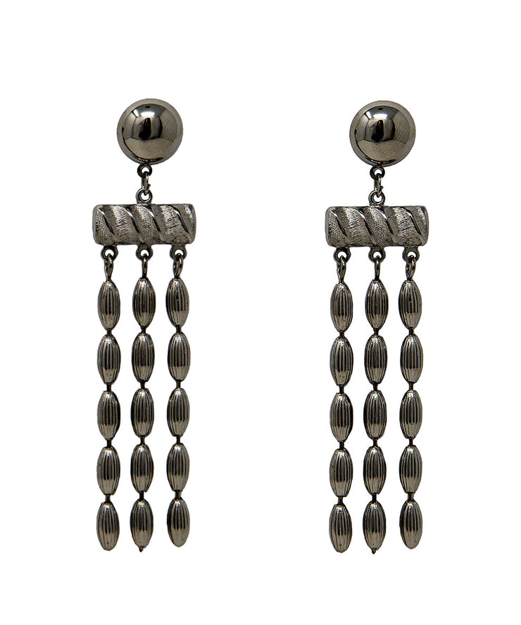 Triple Strand Rice Bead Earrings (Gunmetal)