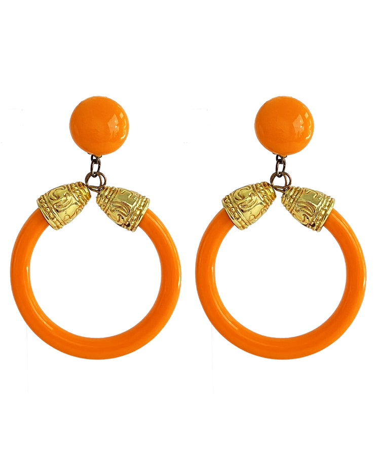 Vintage Orange Doorknocker Earrings
