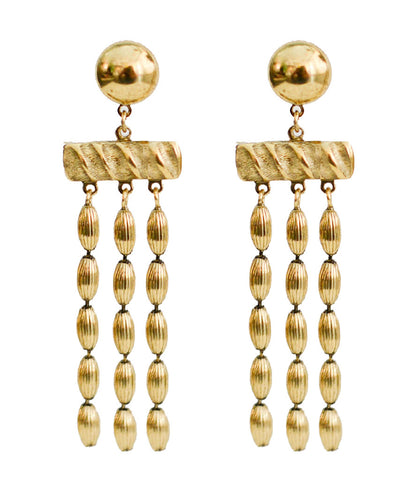 Three Strand Rice Bead Earrings (Vintage Gold)