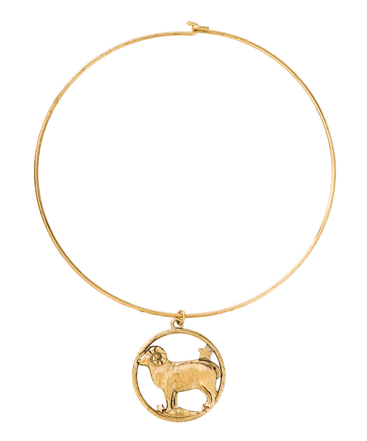 70s Inspired Zodiac Necklace (Aries)
