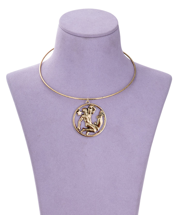 70s Inspired Zodiac Necklace (Aquarius)
