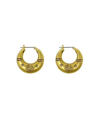 Zodiac Mini Hoop Earrings (Aquarius)