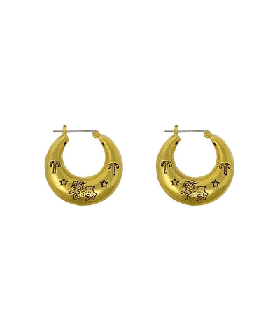 Zodiac Mini Hoop Earrings (Aries)