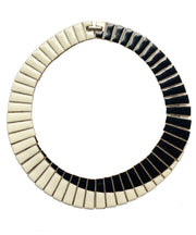 Vintage Black & White Enamel Collar Necklace